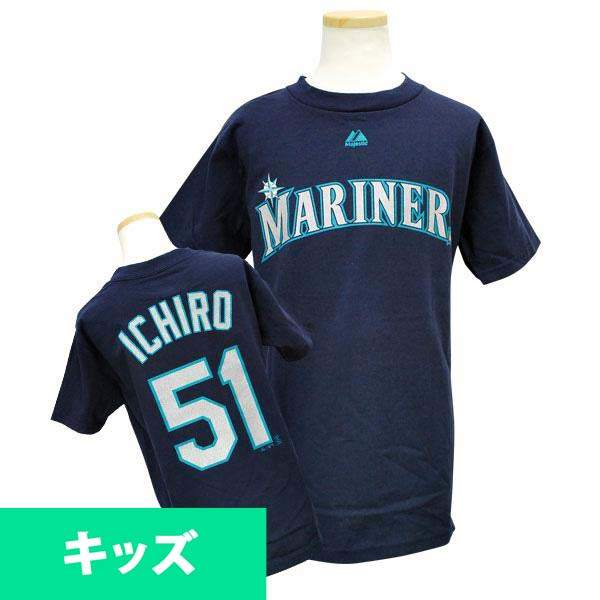 Majestic MLB Mariners 51 Ichiro Suzuki Youth Player T shirt (Navy)