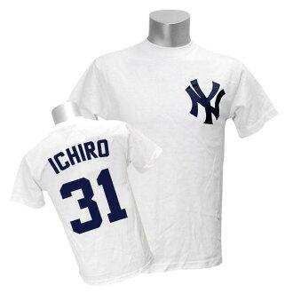 Majestic MLB Yankees # 31 Ichiro Player T shirt JPN Ver (white)
