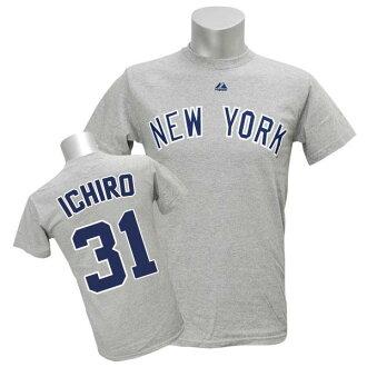 MLB Yankees #31 Ichiro Player Road T-shirt JPN Ver (gray) Majestic