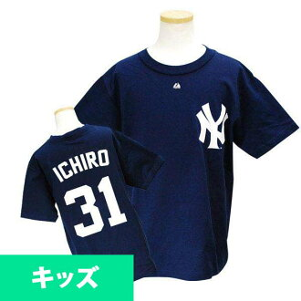 Majestic MLB Yankees # 31 Ichiro Youth Player T shirt JPN Ver (Navy)