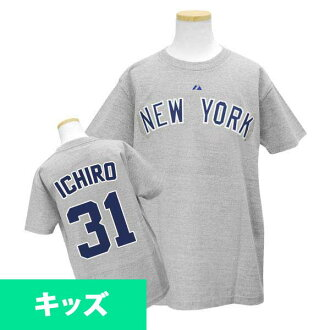 Majestic MLB Yankees # 31 Ichiro Youth Player Road T shirt JPN Ver (gray)