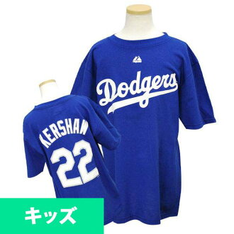 MLB Dodgers Clayton Kershaw Kids T shirts Royal majestic Player T shirt Youth