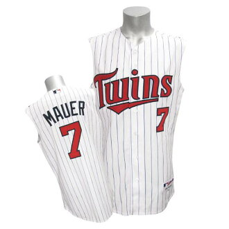 MLB Twins #7 Joe マウアー Authentic Player uniform (Horta - home 2/White-Sleeveless) Majestic)