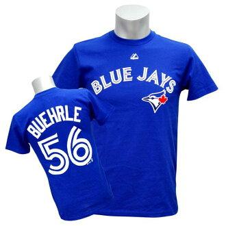 MLB Blue Jays #56 mark Barrie Player T-shirt (blue) Majestic