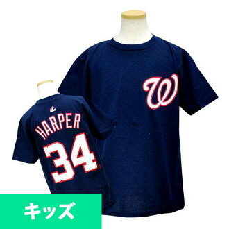 Majestic MLB nationals # 34 Bryce Harper Youth Player T shirt (Navy)