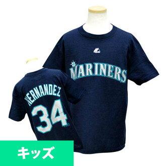 Majestic MLB Mariners # 34 Felix Hernandez Youth Player T shirt (Navy)