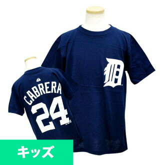 Majestic MLB Tigers # 24 Miguel Cabrera Youth Player T shirt (Navy)