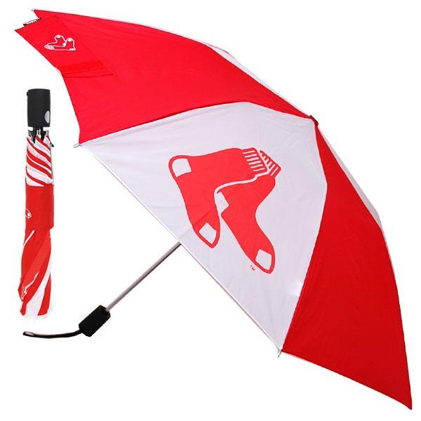 MLB レッドソックス 折り畳み傘 totes Umbrella Auto Folding 対応 トーツ社製MLBのワンタッチ式折りたたみ傘。