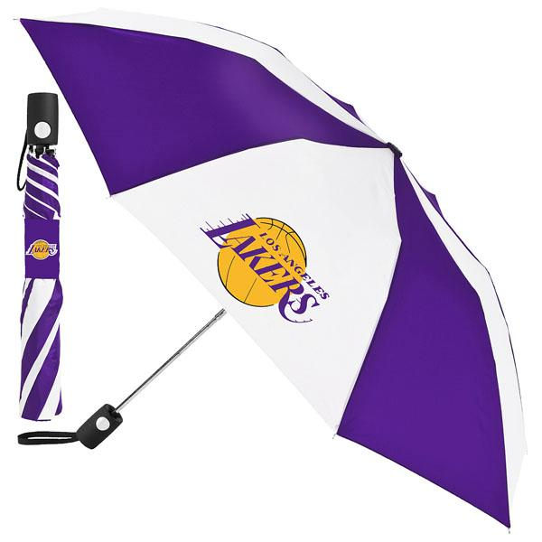 NBA レイカーズ 折り畳み傘 totes Umbrella Auto Folding 対応 トーツ社製NBAのワンタッチ式折りたたみ傘。