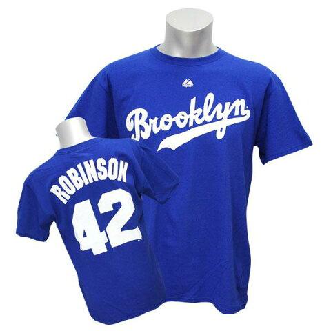 MLB ドジャース ジャッキー・ロビンソン Tシャツ ロイヤル マジェスティック Cooperstown Player Name & Number Tシャツ