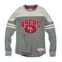 NFL 49ers ロングスリーブ Tシャツ グレー ミッチェル&ネス Rushing Line Thermal Long Sleeve