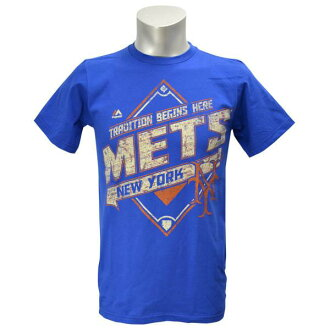 Majestic MLB New York Mets Cooperstown Game Obsessed T shirt (blue)