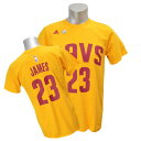 NBA キャバリアーズ レブロン・ジェイムス Tシャツ ゴールド アディダス NET NUMBER Tシャツ