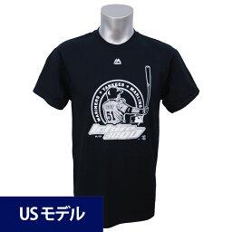 MLB マーリンズ イチロー メジャー通算3000安打達成記念 ロゴ Tシャツ マジェスティック ブラック