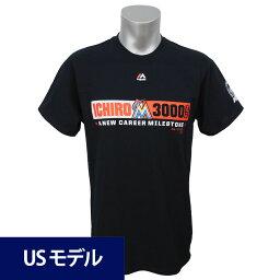 MLB マーリンズ イチロー メジャー通算3000安打達成記念 カラーブロック Tシャツ マジェスティック ブラック