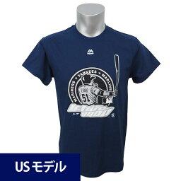 MLB マリナーズ ヤンキース イチロー メジャー通算3000安打達成記念 ロゴ Tシャツ マジェスティック ネイビー