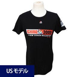 MLB マーリンズ イチロー メジャー通算3000安打達成記念 カラーブロック Tシャツ ウィメンズ マジェスティック ブラック