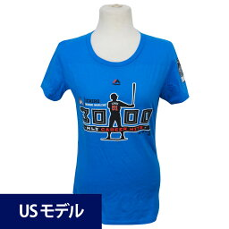 MLB マーリンズ イチロー メジャー通算3000安打達成記念 シルエット Tシャツ ウィメンズ マジェスティック ブルー
