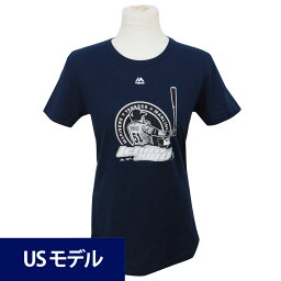 MLB マリナーズ ヤンキース イチロー メジャー通算3000安打達成記念 ロゴ Tシャツ ウィメンズ マジェスティック ネイビー