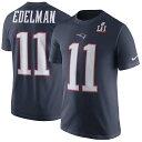 お取り寄せ NFL ペイトリオッツ ジュリアン・エデルマン 第51回スーパーボウル優勝記念 プレーヤー プライド ネーム&ナンバー Tシャツ ネイビー