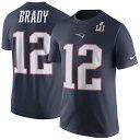 お取り寄せ NFL ペイトリオッツ トム・ブレイディ 第51回スーパーボウル優勝記念 プレーヤー プライド ネーム&ナンバー Tシャツ ネイビー