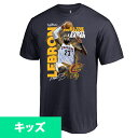 お取り寄せ NBA キャバリアーズ レブロン・ジェイムス 2017 オールタイム ポストシーズン ポイント リーダー キッズ Tシャツ ネイビー