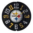 お取り寄せ NFL スティーラーズ ヴィンテージ ラウンド ウォールクロック/壁掛け時計 ブラック