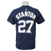 MLB ヤンキース ジャンカルロ・スタントン プレイヤー Tシャツ 半袖 マジェスティック/Majestic ネイビーの画像