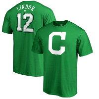 お取り寄せ MLB インディアンス フランシスコ・リンドール セント・パトリックス・デー ネーム&ナンバー Tシャツ ケリーグリーンの画像