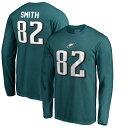 お取り寄せ NFL イーグルス トレイ・スミス オーセンティック スタック ネーム&ナンバー ロング Tシャツ ミッドナイトグリーン
