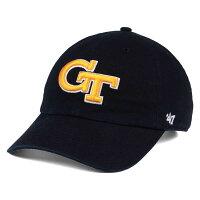 お取り寄せ NCAA/カレッジ ジョージア工科大学 キャップ/帽子 クリーンナップ コットン 47ブランド ブラックの画像