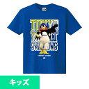 東京ヤクルトスワローズ グッズ Tシャツ つば九郎フォトカラーKids ロイヤルブルー