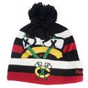 ショッピングニットキャップ NHL ブラックホークス ニットキャップ/ニット帽 Alternate Logo Stripe Cuffed Pom Knit Hat リーボック/Reebok ブラック