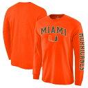 ショッピングストレス NCAA マイアミ大学 ハリケーンズ Tシャツ ディストレスト アーチ オーバー ロゴ ロングスリーブ オレンジ