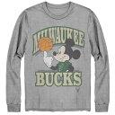 ショッピングミッキー NBA ミルウォーキー・バックス Tシャツ ディズニー ミッキーマウス Disney Mickey Team Spirit Long Sleeve T-Shirt Junk Food グレー