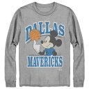 ショッピングミッキー NBA ダラス・マーベリックス Tシャツ ディズニー ミッキーマウス Disney Mickey Team Spirit Long Sleeve T-Shirt Junk Food グレー