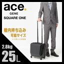 エースジーン スクエアワン スーツケース 横型 25L 機内持ち込み ポケット キャリーバッグ 4輪 ACEGENE SQUARE ONE 05641