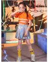 ダンス衣装 上下セット キッズ ダンス 衣装 ヒップホップ ダンスウェア セットアップ ミニスカート チュチュ風 ジャズダンス ジュニア ..