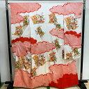 【25%OFF★SALE】【USED】 振袖 着物 単品 リサイクル着物 成人式 結婚式 レトロ ユーズド 中古 着物 きもの 時代物 リユース リアルレトロ 白 赤 絞り柄 雲取 菊 桜