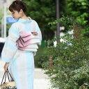 浴衣セット 浴衣 レトロ 3点セット(浴衣/八寸帯/下駄) 白系 水色 麻 リネン ストライプ 伝統工芸 お仕立て上がり レトロモダン 上品 古典 浴衣セット レディース 女性 Mサイズ フリーサイズ ゆかたセット