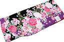 2尺袖の着物-No.180(フリーサイズ)【地色:黒×紫色/二尺袖/入・卒業/袴特集/送料無料/八掛ピンク色となります。】59%OFF
