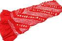 正絹絞りの帯揚げ-赤色【七五三・お子様用/絞り柄部分お任せ/サイズ:約100×15センチ/総絞り】