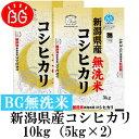新米 お米 BG無洗米 10kg(5kg×2) 新潟県産コシヒカリ 令和元年産