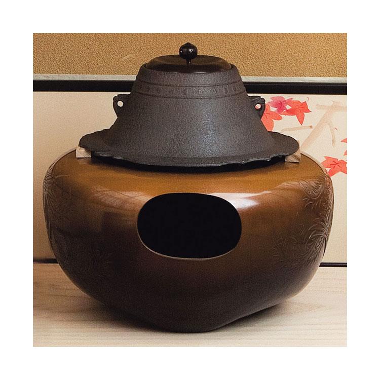 茶道具 風炉富士釜添 唐銅鳳凰風炉 (No.6) 政光・浄雲