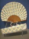 ハマグリ扇子/USAコットン 格子水玉(水色)/扇子+扇子袋セット/綿生地/貝型シェル扇子