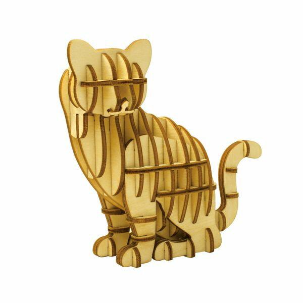 ■パズル■<立体パズル>Wooden Art KI-GU-MI ネコ