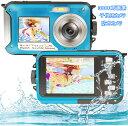 新生活 デジカメ防水デジカメ 防水カメラ水中カメラ デジタルカメラ スポーツカメラ 2.7K 4800万画素数 デュアルスクリーン日本語説明書付き
