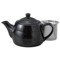 黒結晶ポット(アミ付) [ 11 x 17.5 x 9.5cm 400cc ] 【 ポット 】 | 飲食店 カフェ 和食器 食堂 業務用
