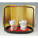 置物 染付招き猫エビス 大黒(磁器) 高さ5.2cm 【縁起物 かわいい 置物】