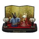 雛人形セット リサとガスパール 屏風・木台付 印刷箱入り 陶器製 せともの 節句 ひなまつり 縁起物 キャラクター